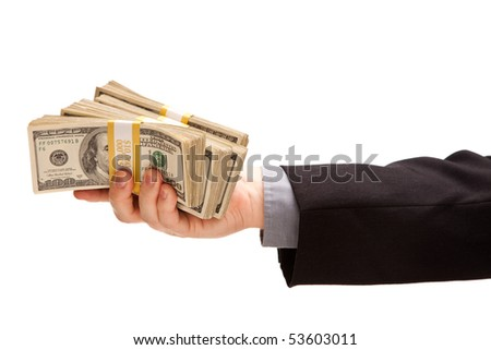 Man Handing Over Hundreds of Dollars Isolated on a White Background.