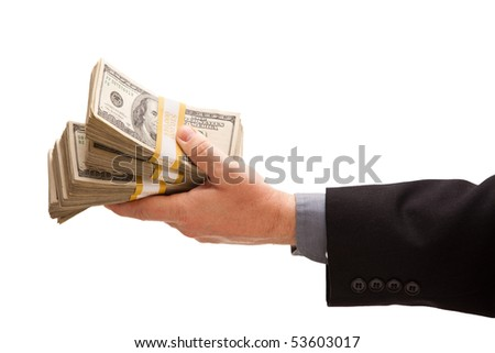 Man Handing Over Hundreds of Dollars Isolated on a White Background. - stock photo