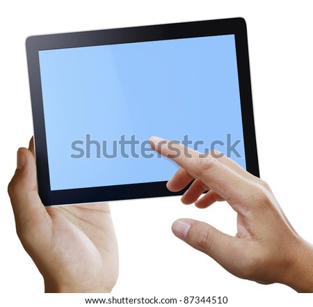 Man hands are pointing on touch screen - stock photo