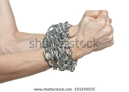 Man hands fettered with chain, job slave symbol, isolated on white background - stock photo