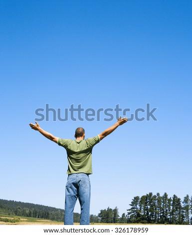 man hands freedom outdoor - stock photo