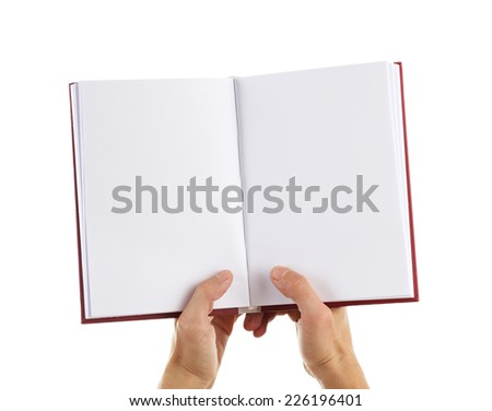 Man hands hold book isolated on white - stock photo