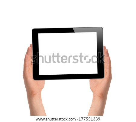 man hands holding a tablet touch computer gadget isolated on white background