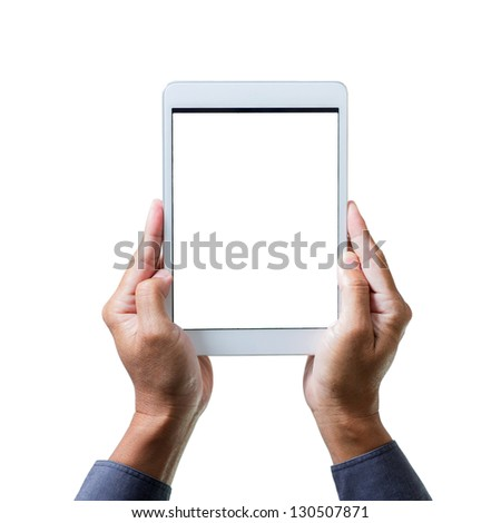 man hands holding a white tablet computer gadget with isolated screen - stock photo