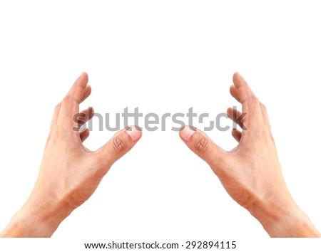 Man hands holding something isolated on white background - stock photo