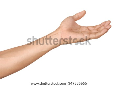 Man hands isolated is on white background