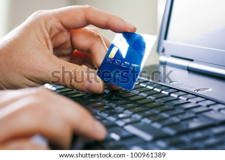 Man hands, laptop, credit card, shopping online payment - stock photo