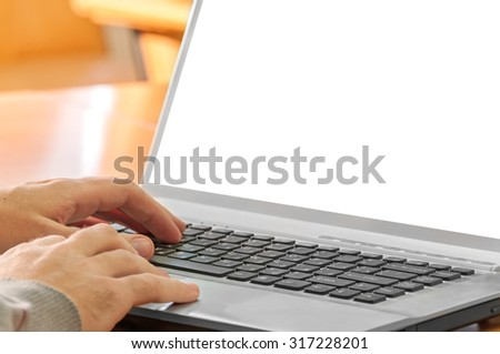 man hands on laptop