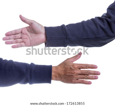 Man hands on white background