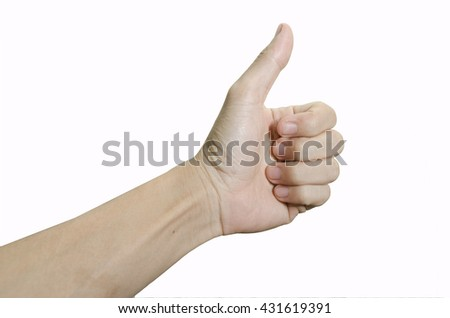 Man hands showing thumbs up. on white background.