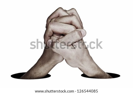 man hands together symbolizing cooperation or union on a white background - stock photo