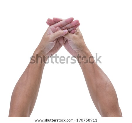 Man hands touching isolated on white background, clipping path