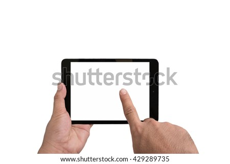 man hands using tablet pc with white screen, isolated