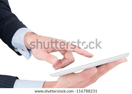 Man hands working on digital tablet, isolated on white