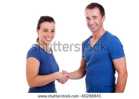 man handshake a woman, isolated on white, studio shot - stock photo