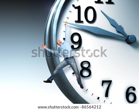man hang on 3d clock - stock photo