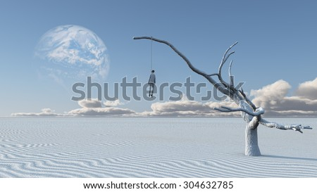 Man hangs from limb of large whithered tree in desolate desert - stock photo