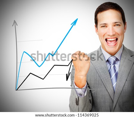Man happy behind graph on grey background