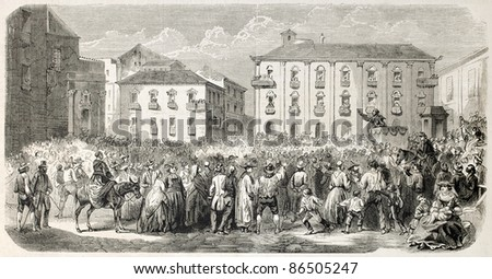 Man haranguing a crowd in Messina, Italy, old illustration. Created by Provost, published on L'Illustration, Journal Universel, Paris, 1860 - stock photo