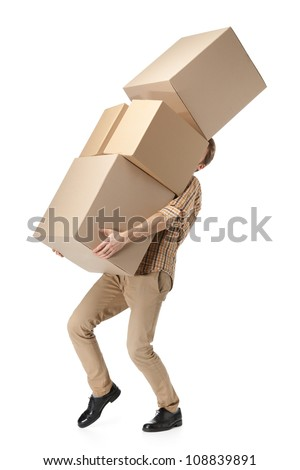 Man hardly carries the cardboard boxes, isolated, white background - stock photo