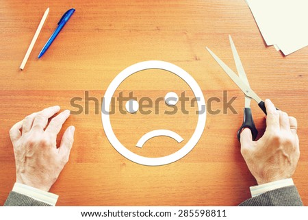 Man has negative emotion. Abstract conceptual image - stock photo