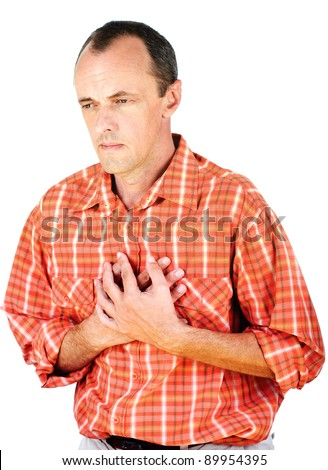 Man have a heart attack, isolated on white background - stock photo