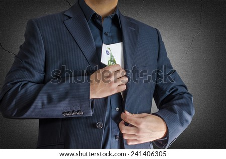 man have euros in envelope - stock photo