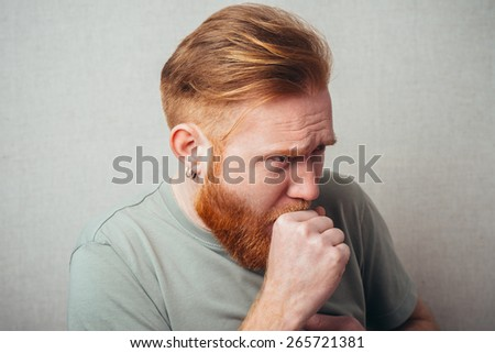 man having a coughing fit  - stock photo