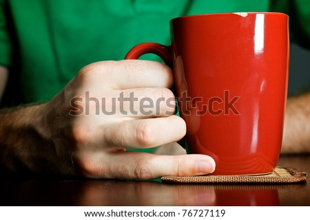 Man having a morning cup of coffee