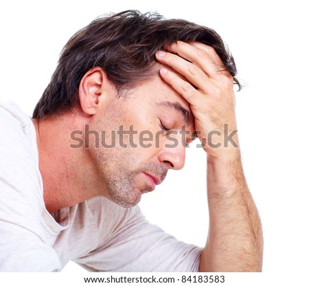 Man having headache. Isolated over white background. - stock photo