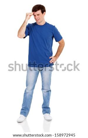 man having headache, standing on white background - stock photo