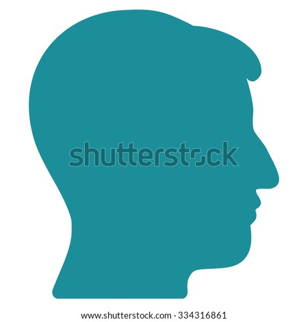 Man Head glyph icon. Style is flat symbol, soft blue color, rounded angles, white background.