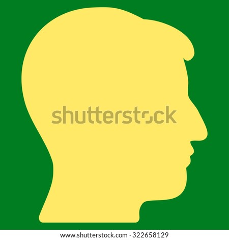 Man Head glyph icon. Style is flat symbol, yellow color, rounded angles, green background.