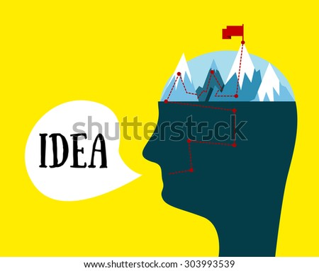Man head. Idea concept. The mental process of creating ideas. Metaphorical illustration. - stock photo