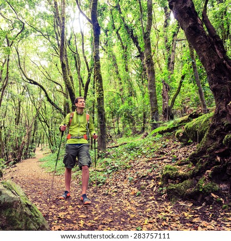 Man hiker hiking in green forest. Young male looking around planning trip or get lost in green beautiful forest, La Gomera, Canary Islands Spain. - stock photo
