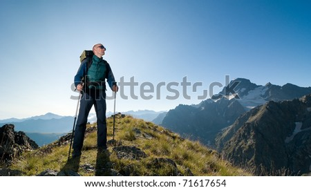 man hiking - stock photo