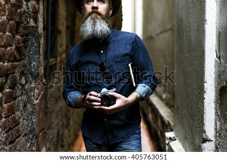 Man Hipster Journey Lifestyle Traveling Concept - stock photo