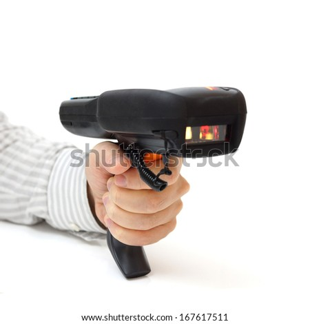 man hold bar code scanner and scans  with laser - stock photo
