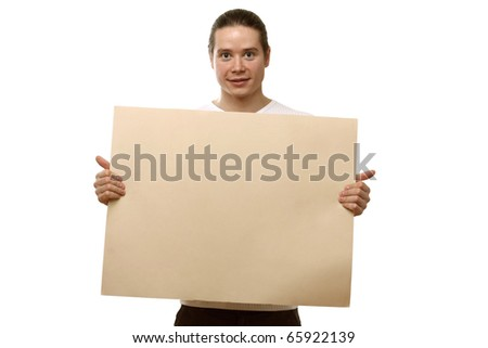 MAn hold blank - stock photo
