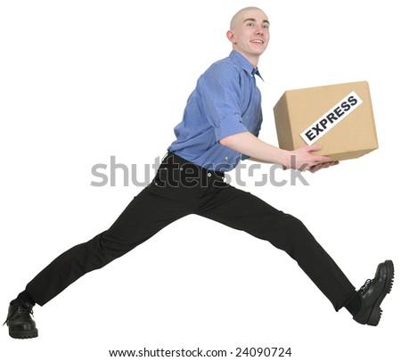 "Man hold carton box with inscription ""express"" - stock photo"