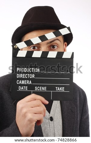 man hold film flap close up - stock photo