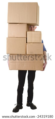 Man hold pile cardboard boxes on white - stock photo