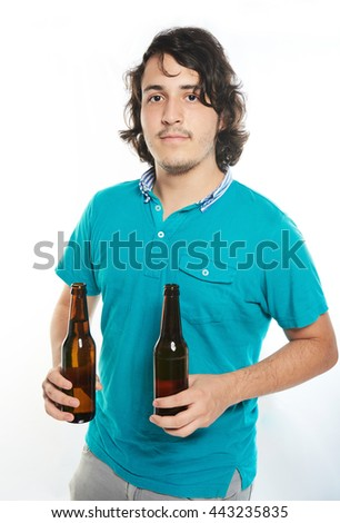 man hold two beer bottles isolated on white - stock photo