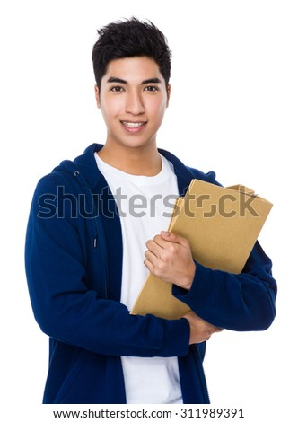 Man hold with document work - stock photo