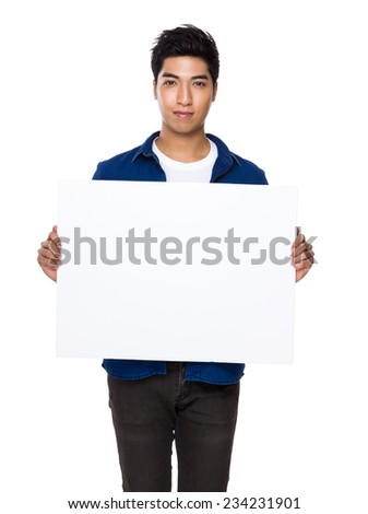 Man hold with placard - stock photo