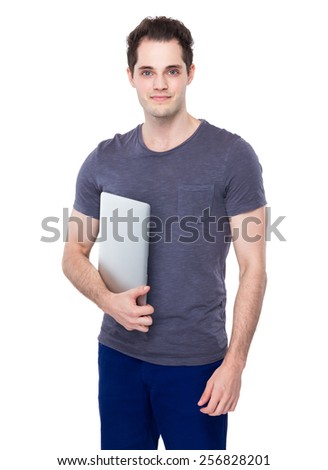 Man hold with portable computer