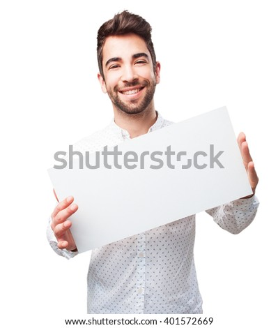 man holding a banner - stock photo