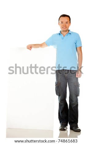 Man holding a banner ad - isolated over a white background