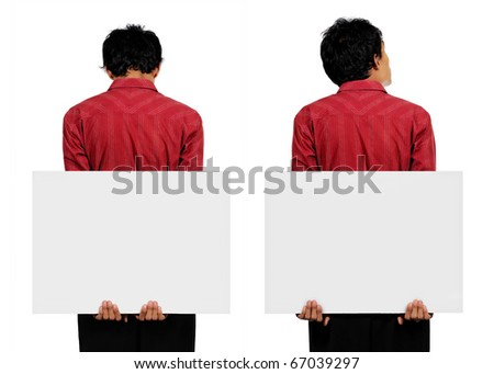 man holding a big white card on his back with two hands in two different choice of pose - stock photo