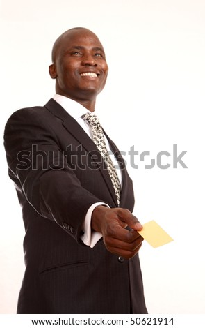 man holding a blank business card - stock photo